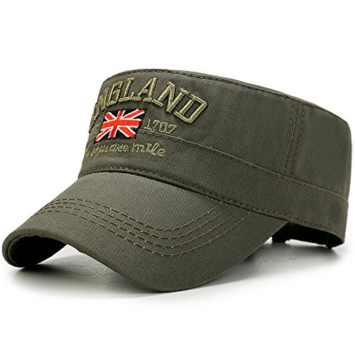 Embroidered Cadet Hat - Yooeen Men's Cotton Army Cap Cadet Military Hat Adjustable Baseball Caps Classic Flat Top Hats Outdoor Sports