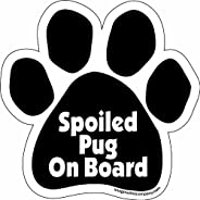 Imagine This Paw Car Magnet, Spoiled Pug on Board, 5-1/2-Inch by 5-1/2-Inch