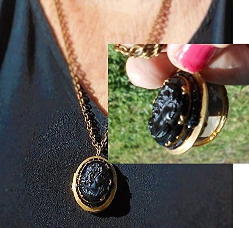30's Black Cameo Locket, Black Glass Black Celluloid Cameo, on Brass Setting with Black Glass Seed Beads Surrounding on Brass Necklace.