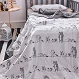 J-pinno Forest Animals Party Cute Muslin Quilt Blanket Crib Bedding Coverlet, 100% Cotton, Comforter Bedspread Throw Blanket for Baby Kid's Bedroom Decoration Gift (3, Toddler 47