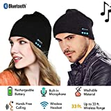 ABOGALE Bluetooth Music Beanie, Unisex Bluetooth 4.2 Knit Hat Stereo Headphones and Microphone (Black)