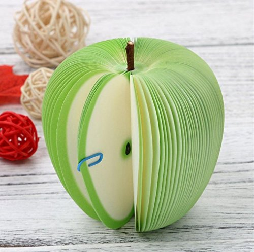 Cute Fruit Memo Pads Green Apple Shape Portable Scratch Paper Notepads Creative DIY Post Sticky for Office Stationary Supplies And Home Decorations by SamGreatWorld