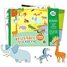 Jar Melo Reusable Sticker Pad; Animal World; 5 Scenes and Over 140 Stickers; Stickers Pad; Separated Scenes