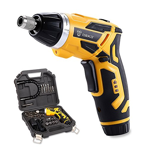 DEKO 3.6V Cordless Electric Screwdriver Household Lithium-Ion Battery Rechargeable Drill/Driver Power Gun Tools with LED Light (BMC)
