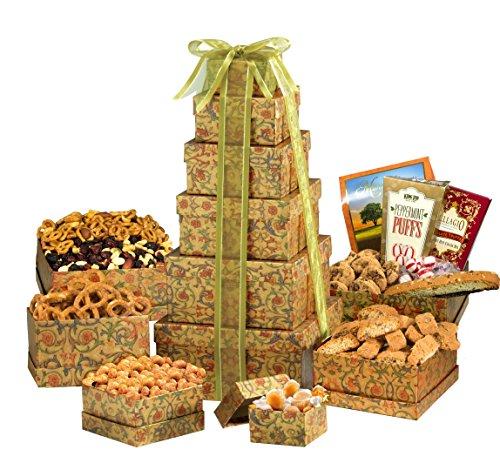 Broadway Basketeers Ultimate Happy Birthday Gourmet Gift Tower (Food Baskets To Send)