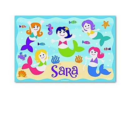 amazon com kids personalized placemat mermaids collection home