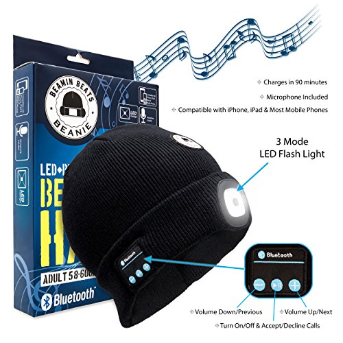 Beamin Beats Smart Bluetooth Beanie Hat for Men, Women & Teens – Unisex Comfy Black Headlight Winter Cap with Rechargeable LED Beam Light & Built-In Wireless Headphone Speaker Earphones for Music