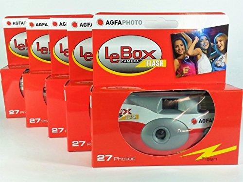 AgfaPhoto LeBox Flash 400 Einwegkamera 27 Aufnahmen mit Blitz 5er Pack für Hochzeit, Party, Feier