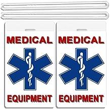 2x Medical Equipment ID Luggage Tags Blue Cross In Middle TSA Carry-On CPAP BiPAP Sleep APNEA POC