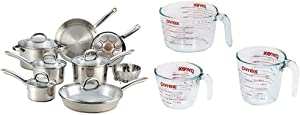 T-fal C836SD Ultimate Stainless Steel Copper Bottom 13 PC Cookware Set, Piece, Silver & Pyrex Glass Measuring Cup Set (3-Piece, Microwave and Oven Safe),Clear