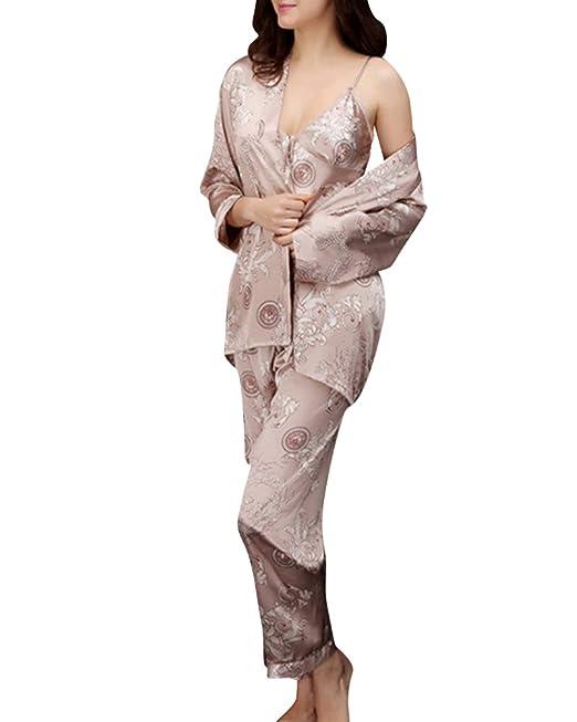 Couple Pijama Mujer Satén 3 Piece Set Chaleco Pantalones Albornoces Hombre Floral Kimono Pijama Ropa Camellolo