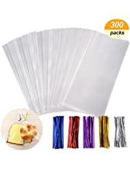Cellophane bag - QMstar 300 Pcs Clear Treat Bags with 320 Twist Ties 5 Colors - OPP Plastic Bags Good for Bakery, Cookies, Candies,Dessert (3 x 4Inch 4 x 6Inch 6 x 9Inch)