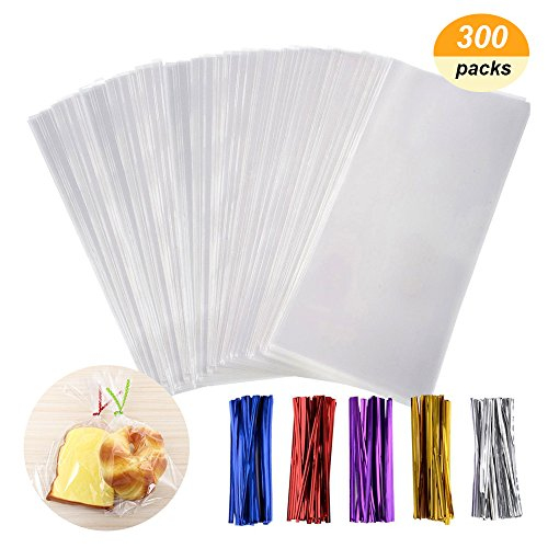 Cellophane bag - QMstar 300 Pcs Clear Treat Bags with 320 Twist Ties 5 Colors - OPP Plastic Bags Good for Bakery, Cookies, Candies,Dessert (3 x 4Inch 4 x 6Inch 6 x 9Inch) -