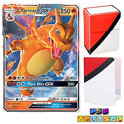 Charizard GX SM211 - Ultra Rare Foil Holo with Totem World Card Protector Deck Box & Mini Binder Collectors Album - Compatible with Pokemon Cards - Sun & Moon Hidden Fates Black Star Promos: Toys & Games