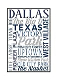 Dallas, Texas - City Typography (16x24 Framed Gallery Wrapped Stretched Canvas)