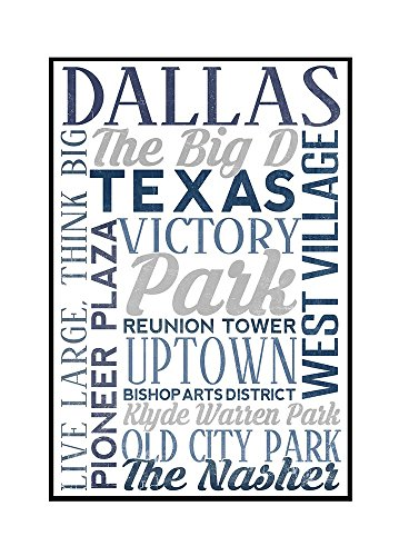 Dallas, Texas - City Typography (16x24 Framed Gallery Wrapped Stretched Canvas) by Lantern Press