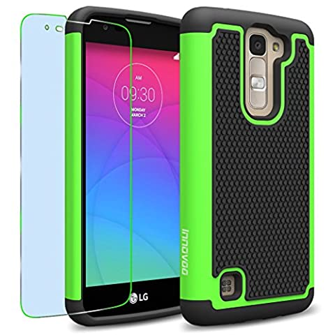 LG K7 / Tribute 5 Case, INNOVAA Anti-Slip Shockproof Soft Silicone Dual-Layer Durable Armor Case W/ Free Screen Protector & Touch Screen Stylus Pen - (Pen For Touch Screen Green)
