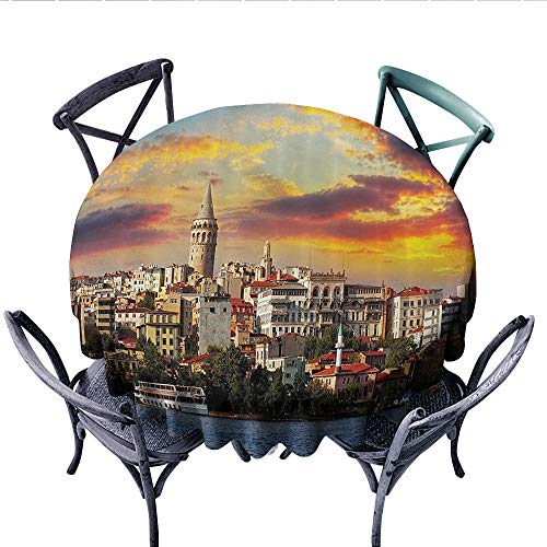 European Cityscape Decor Collection Printed Circle Tablecloth Istanbul at Sunset with the Sea Capital of Byzantine Old Roman Ancient Tower Print Stain Resistant Wrinkle Tablecloth (Round, 54 Inch, Mul