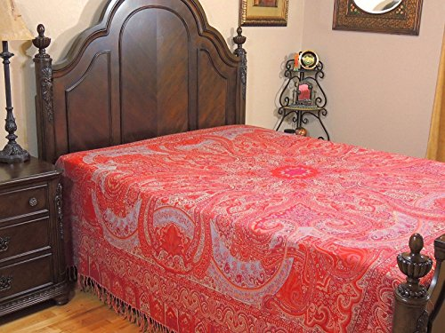 NovaHaat Crimson, Red and Ivory Paisley Wool Bedding - Kohinoor (Mountain of Light) REVERSIBLE Indian Bedspread with Mughal motifs from Kashmir - Queen 108 Inch x 90 Inch or Use as Blanket - Mughal Throw