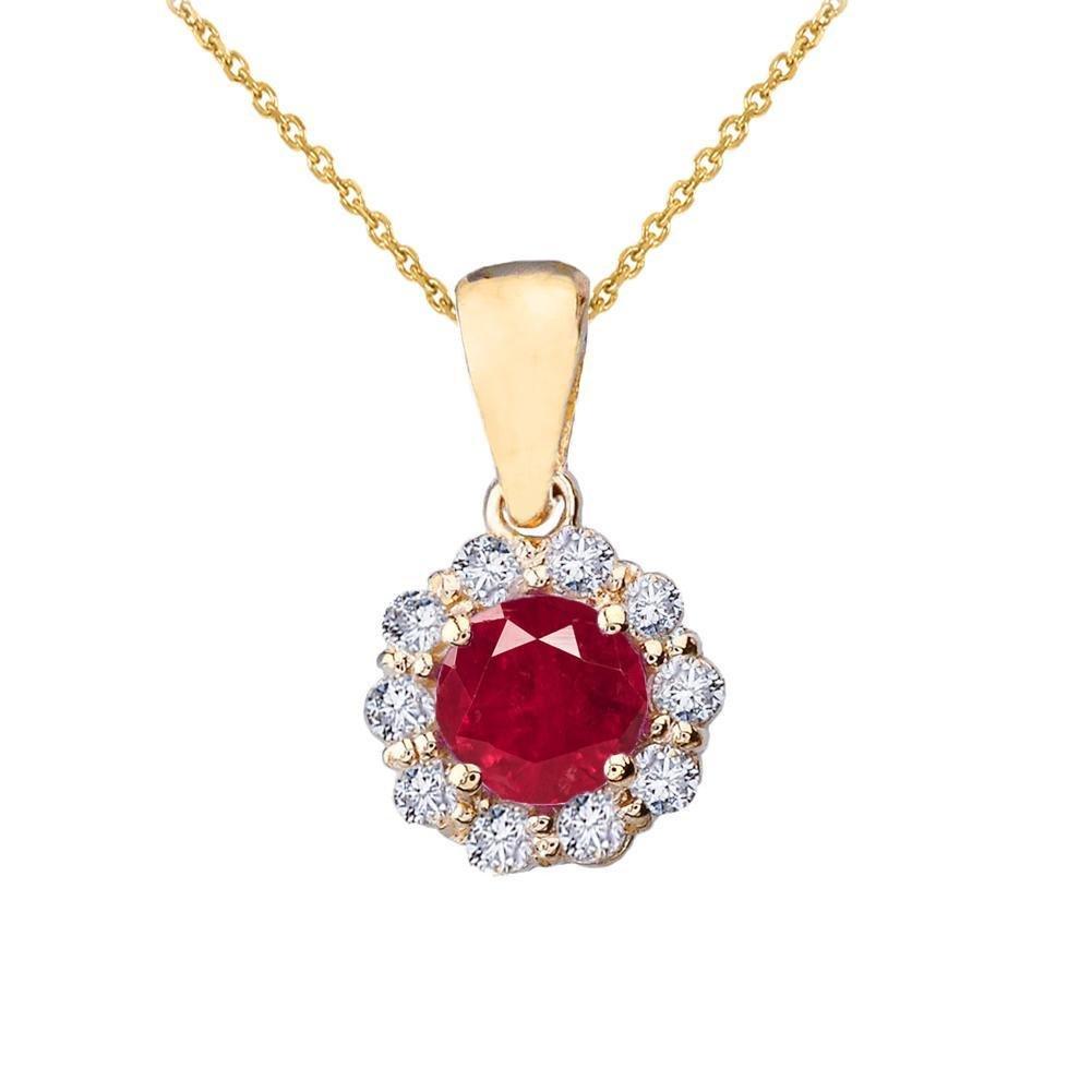 上品な14 Kイエローゴールドダイヤモンド花センターストーンルビーペンダントネックレス B078TNJCDF