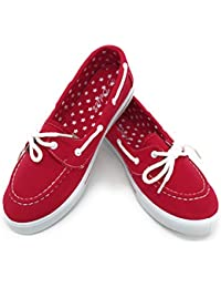 EASY21 Canvas Lace Up Flat Slip On Boat Comfy Round Toe Sneaker Tennis Shoe