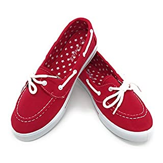 Blue Berry EASY21 Canvas Lace Up Flat Slip On Boat Comfy Round Toe Sneaker Tennis Shoe,Red,Size 6