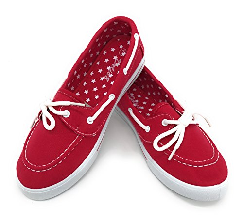 EASY21 Canvas Lace Up Flat Slip On Boat Comfy Round Toe Sneaker Tennis Shoe,Red,Size 6.5
