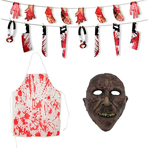Gvirtue Creepy Scary Halloween Cosplay Costume Mask for Adults Party Favors or Huanted House Decoration Props, Bloody Weapons Garland Props for Halloween Decorations, 4pcs Sets (Horror (Psycho Halloween Props)