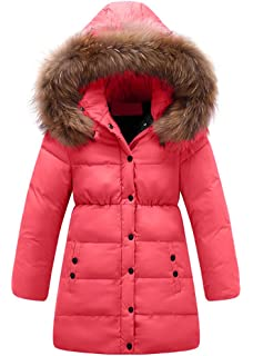 f52413c98 Richie House Girls  Padded Winter Jacket with Belt and Faux Fur Hood ...