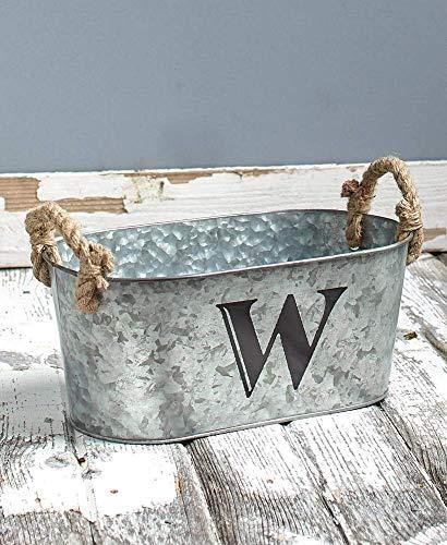 Galvanized Monogram Bucket W