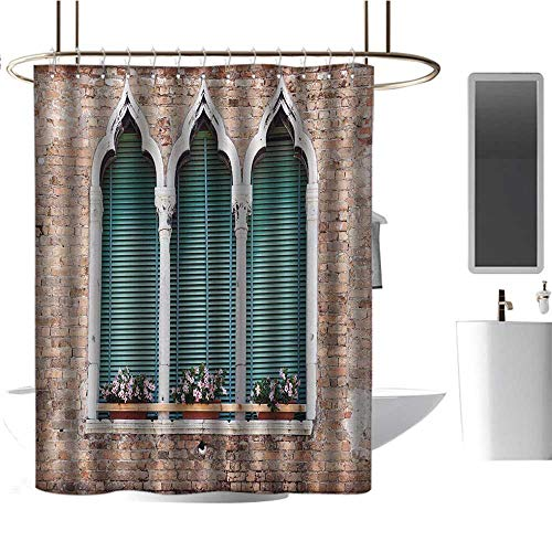"""Qenuan White Shower Curtain Venice,Traditional Ancient Gothic Style Windows with Flower Pots on Brick Wall,Pale Brown White Blue,for Bathroom Showers, Stalls and Bathtubs 54""""x78"""""""