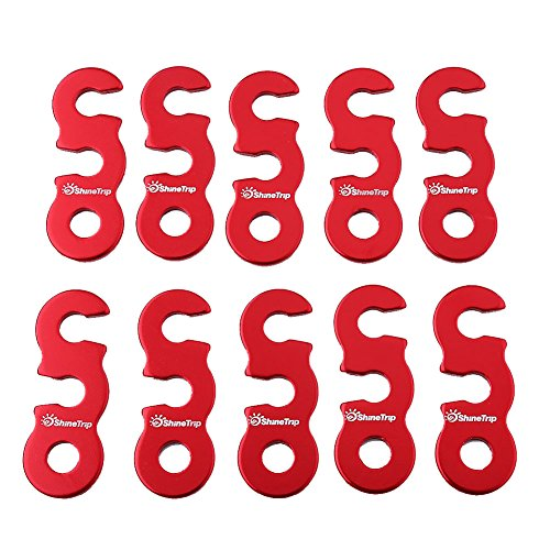 Wbestexercises Wind Rope Buckle,10pcs Quick Release Shelter Tent Anti-Slip Cord Adjuster Tent Tensioners Rope for Camping Outdoor Activity(Red-S)