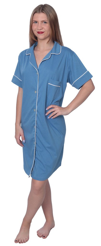 Beverly Rock Women's Soft Jersey Knit Cotton Blend Button Down Sleepshirt Pajama Top with Piping Finish Y18_WPJ01 Blue 3X