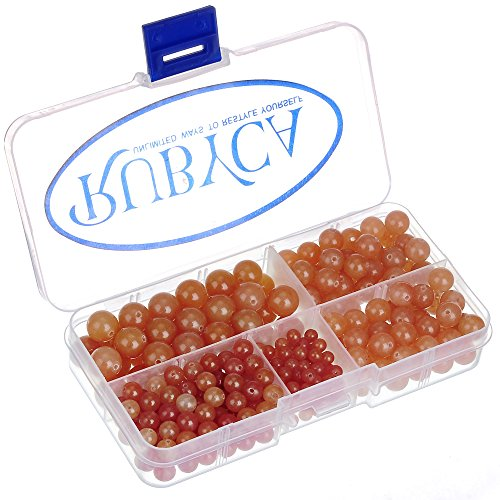 RUBYCA Natural Red Aventurine Gemstone Round Loose Beads Organizer Box DIY Jewelry Making Mix Sizes