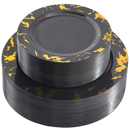 NERVURE 102PCS Black with Gold Marbling Plastic Plates-Disposable Plastic Plates with Gold Marbling- Plastic Wedding Party Plates including 51Plastic Dinner Plates 10.25inch,51 Salad Plates 7.5inch -