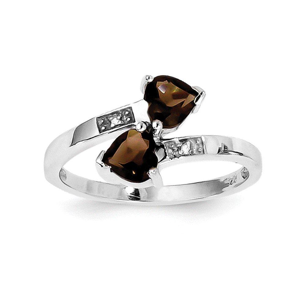 Brilliant Bijou Solid .925 Sterling Silver Rhodium Smoky Quartz /& Diamond Heart Ring Size 8