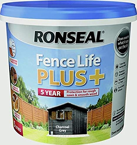 Ronseal RSLFLPPCG5L Fence Life Plus, Charcoal Grey, 5 Litre