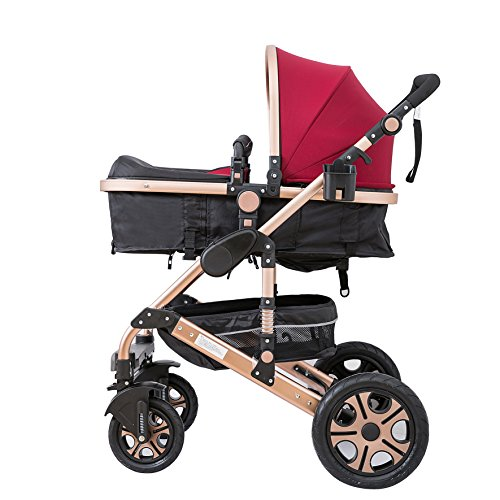 C&AHOME-Adjustable Anti-Shock High View Stroller Baby Carriage Pushchair Pram (Burgundy)