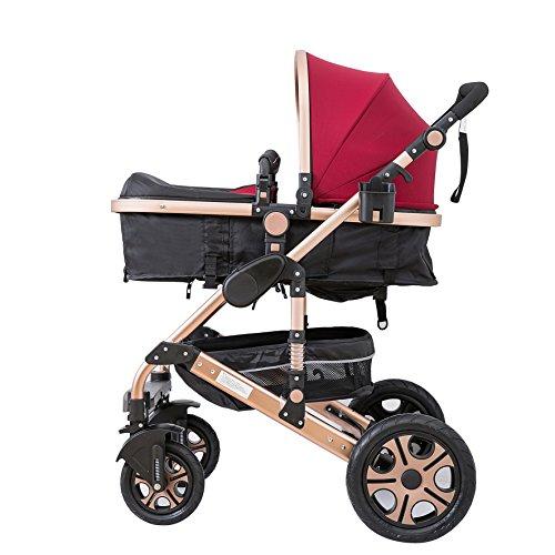 C&AHOME-Adjustable Anti-Shock High View Stroller Baby Carriage Pushchair Pram (Burgundy)