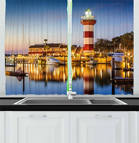 Ambesonne United States Kitchen Curtains, Hilton Head South Carolina Lighthouse Twilight Water Reflection Boats Idyllic, Window Drapes 2 Panel Set for Kitchen Cafe, 55 W X 39 L Inches, Multicolor