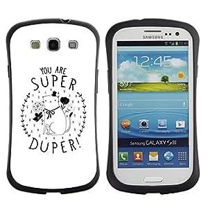 """Hypernova Slim Fit Dual Barniz Protector Caso Case Funda Para SAMSUNG Galaxy S3 III / i9300 / i747 [Usted está Gatito super minimalista del regalo del amor""""]"""