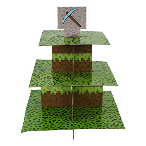 Mining Fun Cupcake Stand & Pick Kit, Pixel Decorations, Minecraft Inspired Parties, Birthdays, Party Supplies, Cake Decorations, 3 Tier Cardboard Cupcake Stand]()