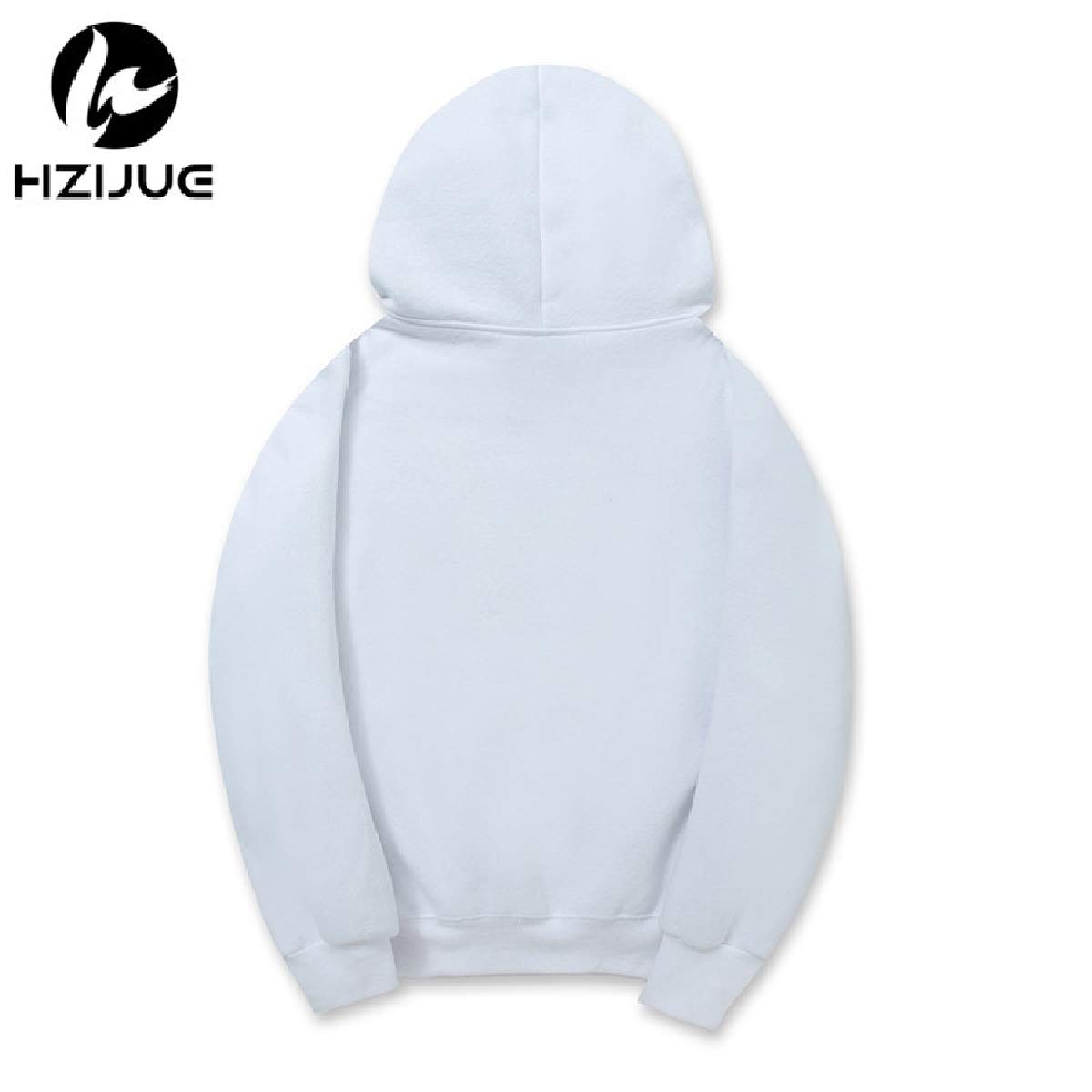 YUNY Men Pure Color Stylish Long Sleeve Plus Size Hoodies Sweater White S