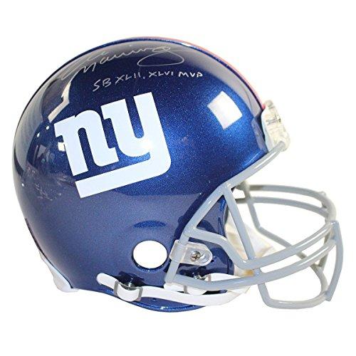 Eli Manning Signed Authentic Full Size Giants Helmet w/SB XLII MVP SB XLVI MVP Insc