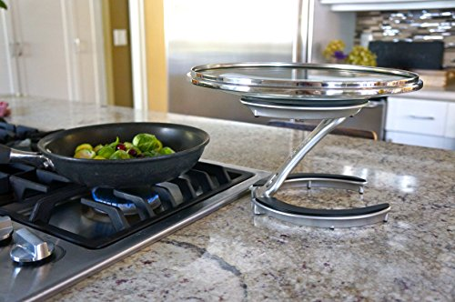 Kitchen Trivae Unique Patented Pan Lid, Utensil and Pot Holder, Dish/Cake Serving Stand and Trivet in One – Perfect Gift for the… pot lid holders