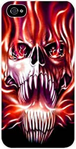 Fireflame Skull- For LG G3 Phone Case Cover Universal- Hard White Plastic