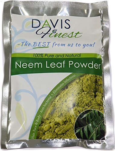 Davis Finest Neem Powder - 100% Pure Natural Haircare Skincare for Dry Flaky Itchy Acne Skin Scalp Eczema Lice Relief Treatment - Chemical Paraben Free Antidandruff Hair Growth (100g)