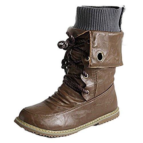 Stivaletti Martin Marrone Scarpe Stile Punta Donna Boots Mode Autunno Rotonda Corto Inverno Minetom Britannico Tubo Bassi Tacco Stivali con gRBq4xWp