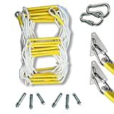 Rope Ladder Safety Life-Saving Escape Ladder Emergency Work Safety Response Rescue Rock Climbing Escape Tree with 2 Safety Buckle and 2 Triangular Holder (Size : 15m)