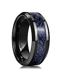 King Will Men's 8mm Blue Carbon Fiber Black Celtic Dragon Tungsten Carbide Ring Wedding Band
